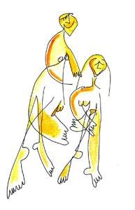 pareja en amarillo