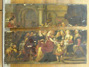 Le festin d'Hérode, copie d'après Rubens (cassé en deux)