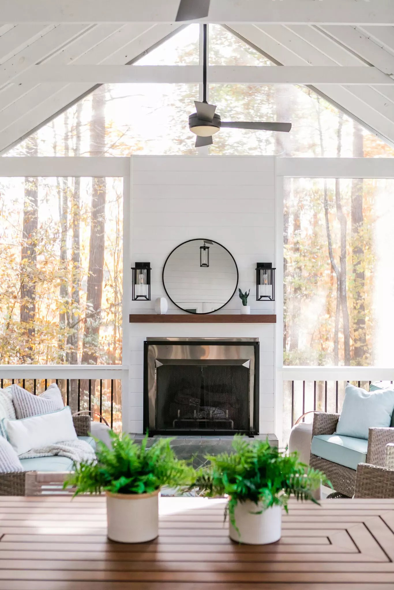 Screen Porch Living and Dining - Catherine French Design