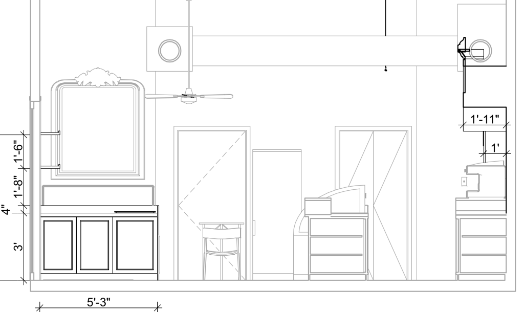 Buildable Design of Cafe's Interior Elevation - Catherine French Design