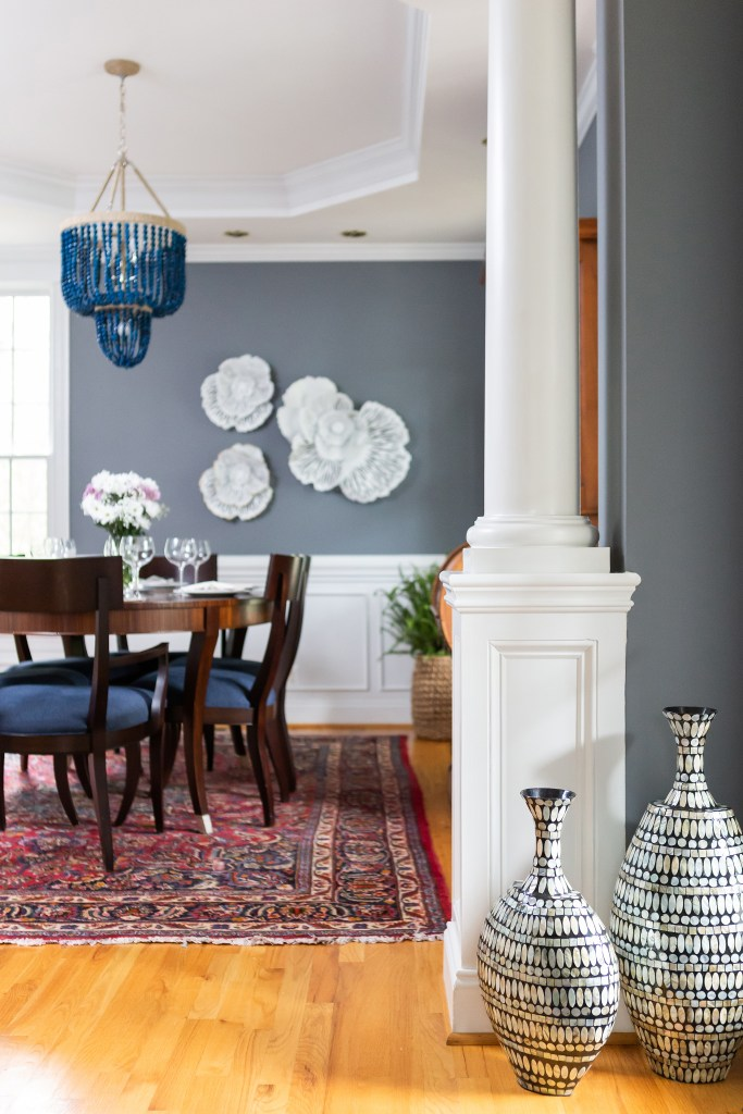 Navy Beaded Chandelier - Catherine French Design