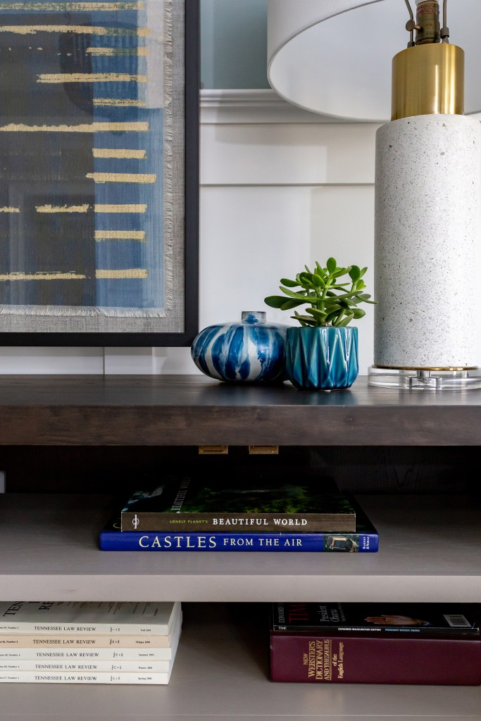 styling objects on console in Formal Living Room - Cat French Design