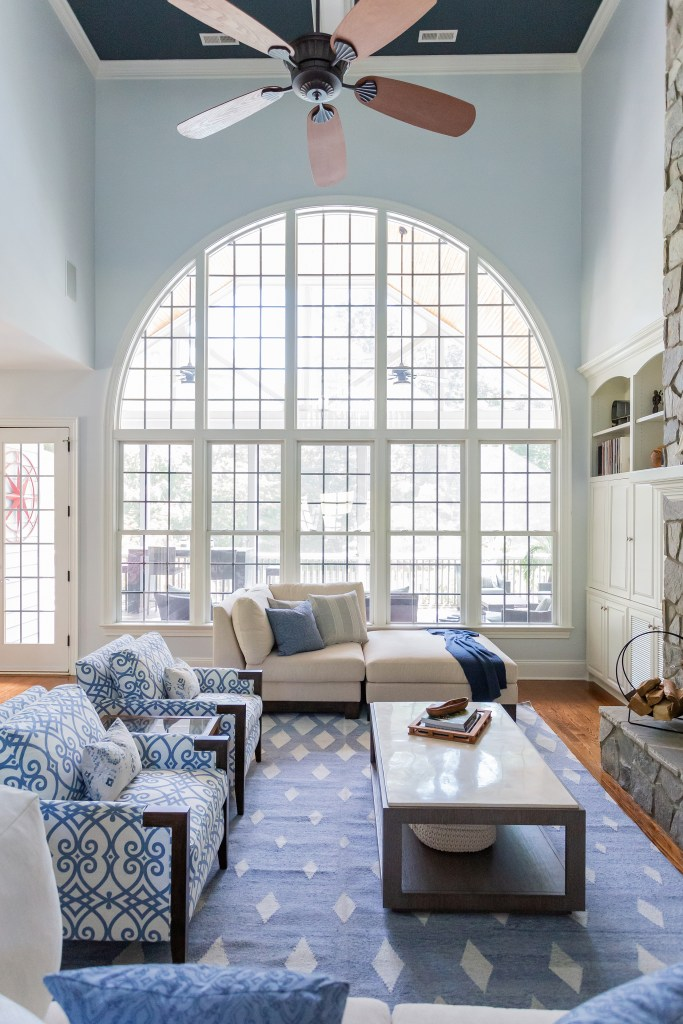 Navy Blue ceiling with lovely blue accented walls in a coastal inspired great room - Durham North Carolina - Catherine French Design