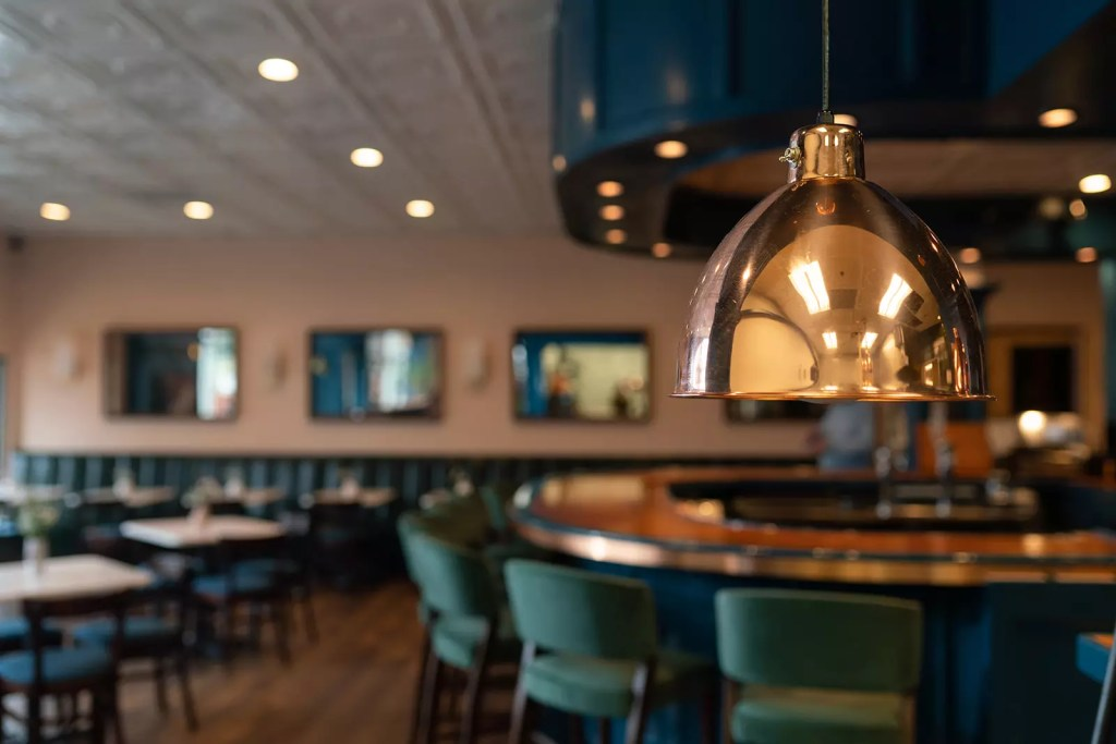 Copper accented bar elements - Cat French Design - Chapel Hill