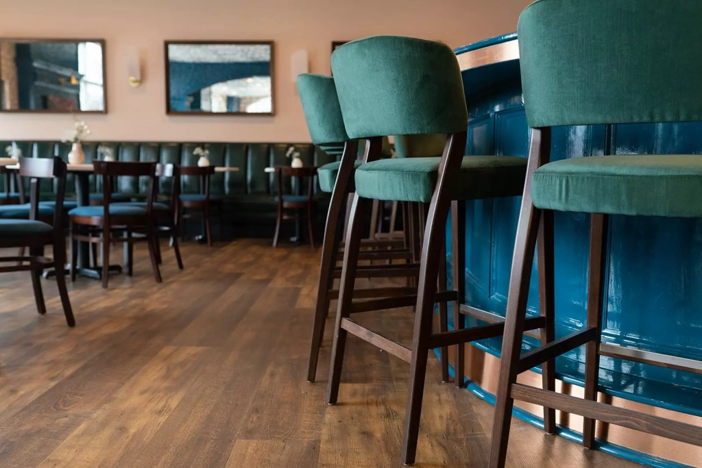 Hunter green velvety barstools - Cat French Interior Design - Chapel Hill