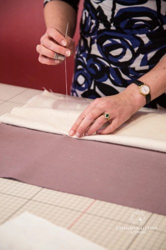 Hand sewing an interlined curtain