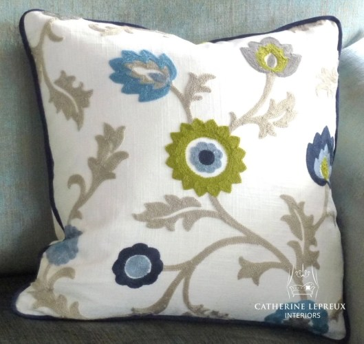 Hand made cream blue lime green cushion. Fabric is Clarke & Clarke Kashmir