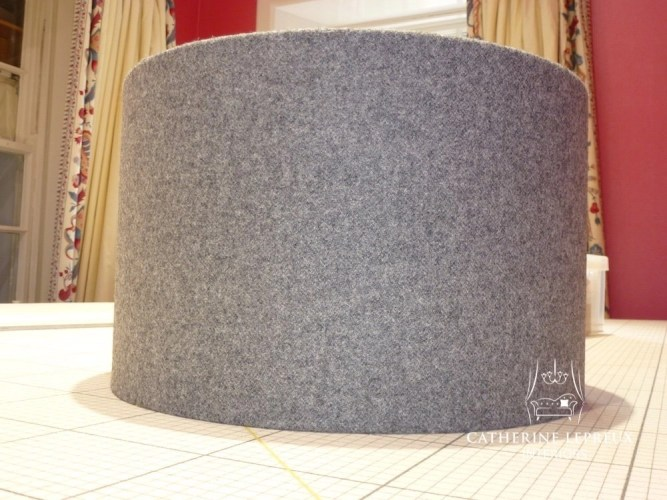 Made to measure grey wool drum lampshade