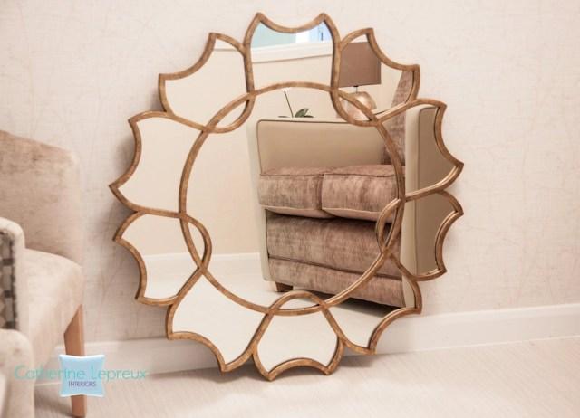contemporary interior design with bronze wall mirror