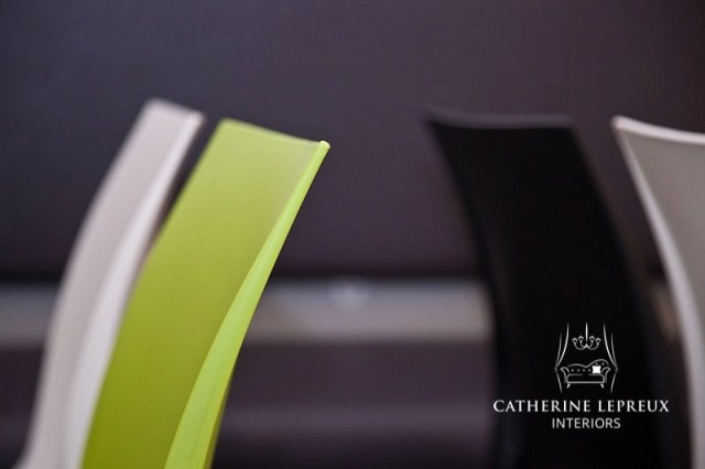 Contemporary cafe polypropelene chairs in grey and lime green
