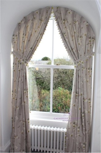 Hand made curtains inside recess traditional arched window Fife