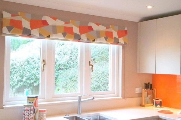 handmade blind-geometric grey orange roman blind at a Fife kitchen window