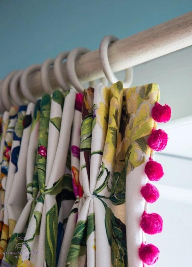 curtain maker Prestigious Textiles curtains pink pom pom trimming