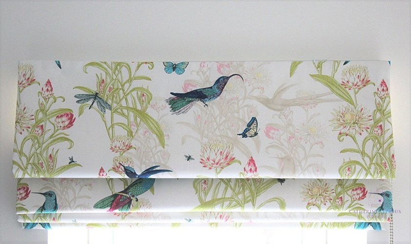 handmade blinds roman Blendworth turquoise print Edinburgh