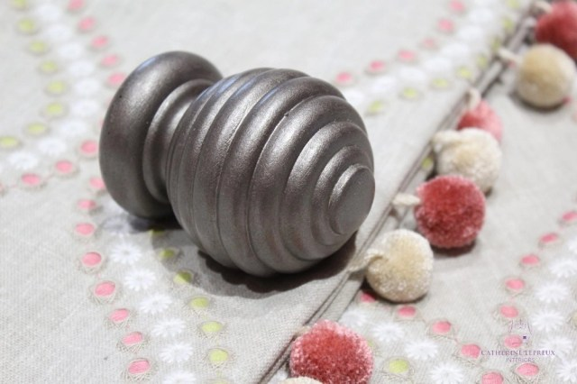 soft furnishings painted curtain pole pewter pink ivory pom poms Fife