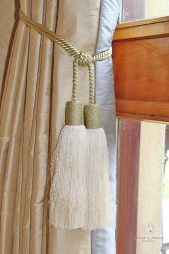 soft furnishings contemporary glam sparkly gold tassel tiebacks