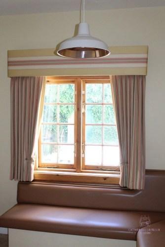 soft furnishings made to measure pelmet curtains Edinburgh yellow stripe Colefax Fowler