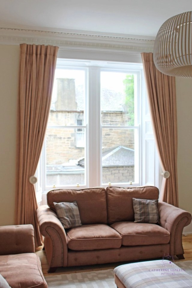 Bespoke interlined curtains for an Edinburgh period flat living room