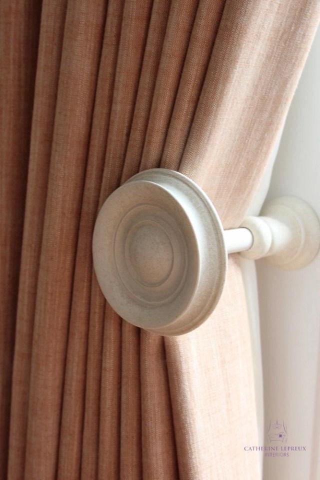 Handmade interlined curtains for an Edinburgh period flat Alison Davies wooden holdback