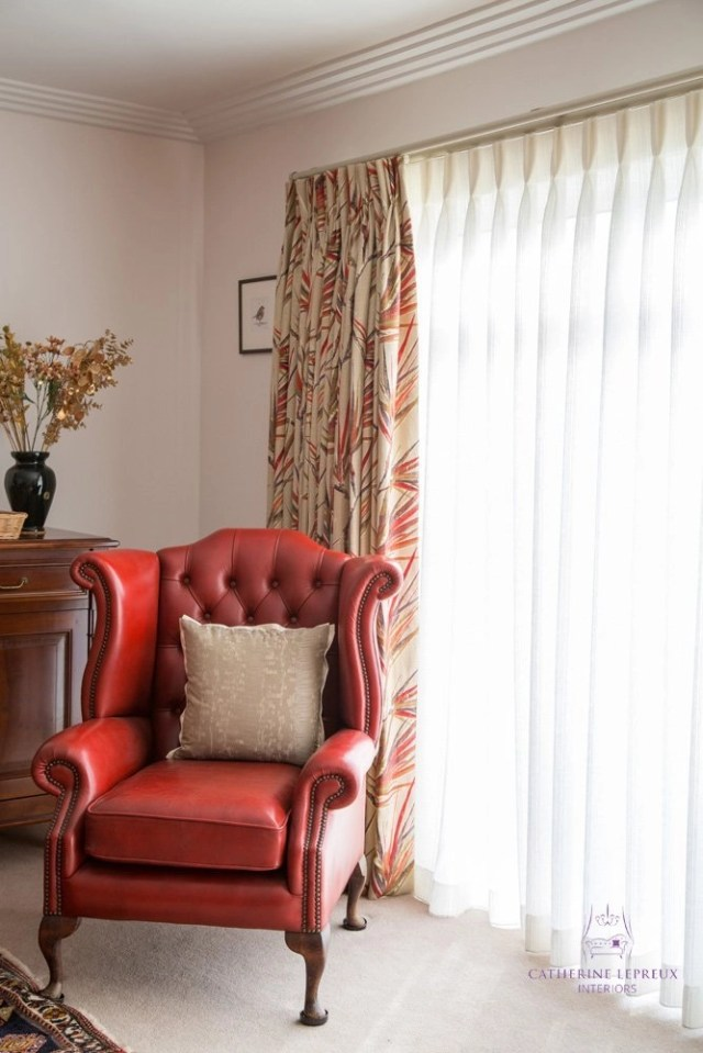 Edinburgh interior design traditional deep buttoned wingback leather armchair