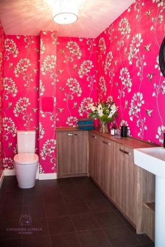 Interior design Edinburgh downsizing glam cloakroom Harlequin humming birds wallpaper