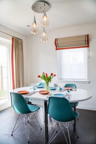 Interior design Edinburgh downsizing modern dining area turquoise Eames Eiffel chairs