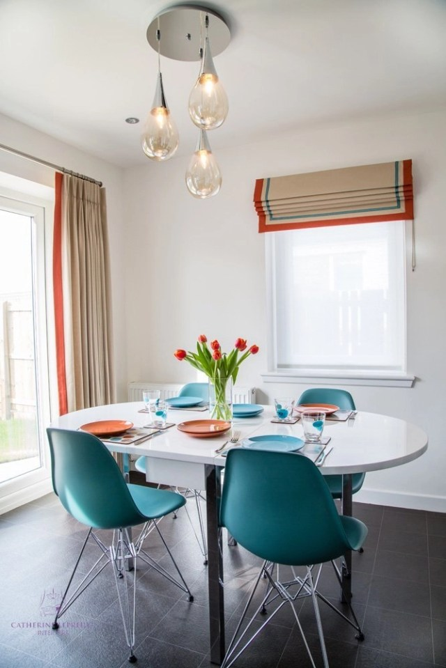 Interior design Edinburgh downsizing modern dining area turquoise Eames Eiffel chairs