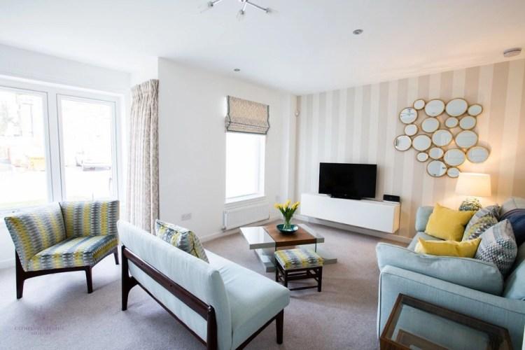 Interior design modern Edinburgh living room pale blue neutral yellow accents