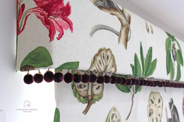 Roman blind makers Edinburgh pattern matched handmade blind and pelmet with pom poms