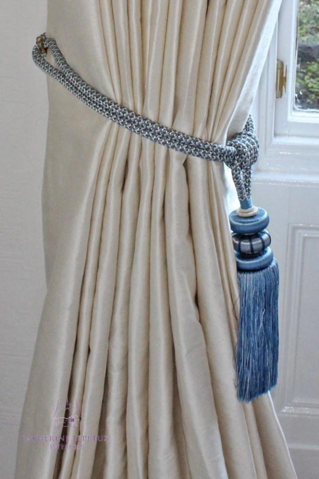 Curtain maker Edinburgh interlined silk curtains blue tassel tieback