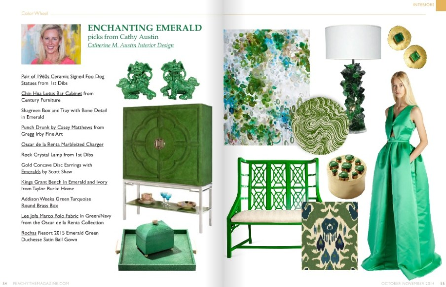 Catherine M. Austin Interior Design/ Peachy Emerald Color Wheel