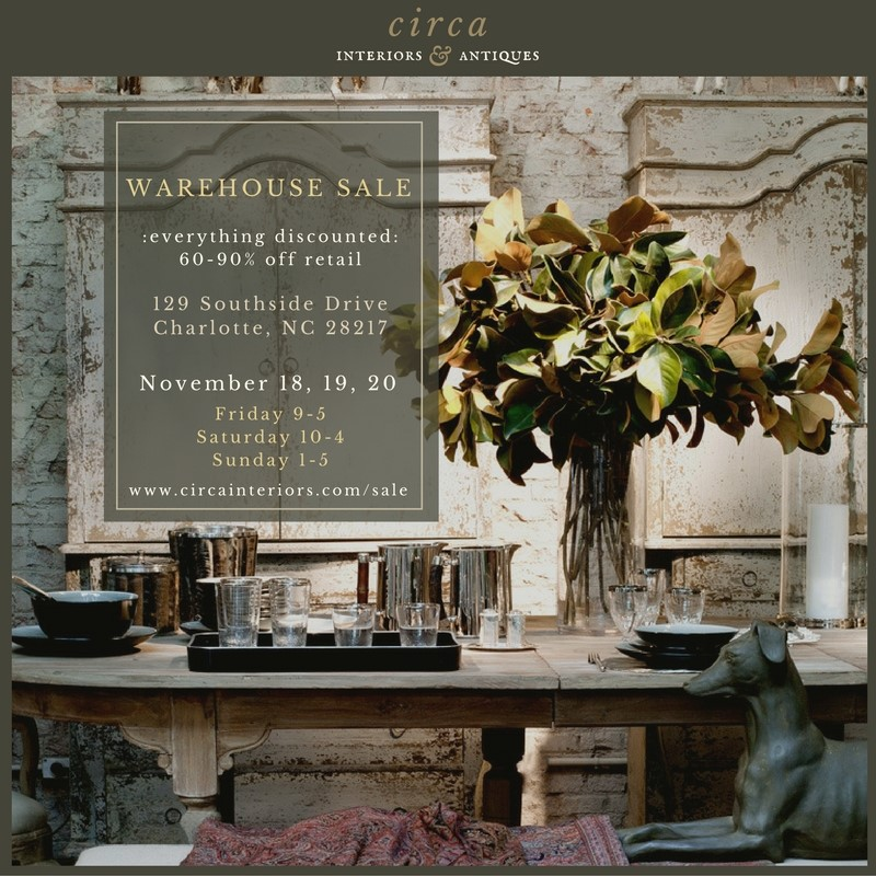 Calling All Charlotte Design Addicts Circa Interiors Is Having An EPIC Warehouse Sale This Weekend And Has Invited Some Other Designers Myself Included
