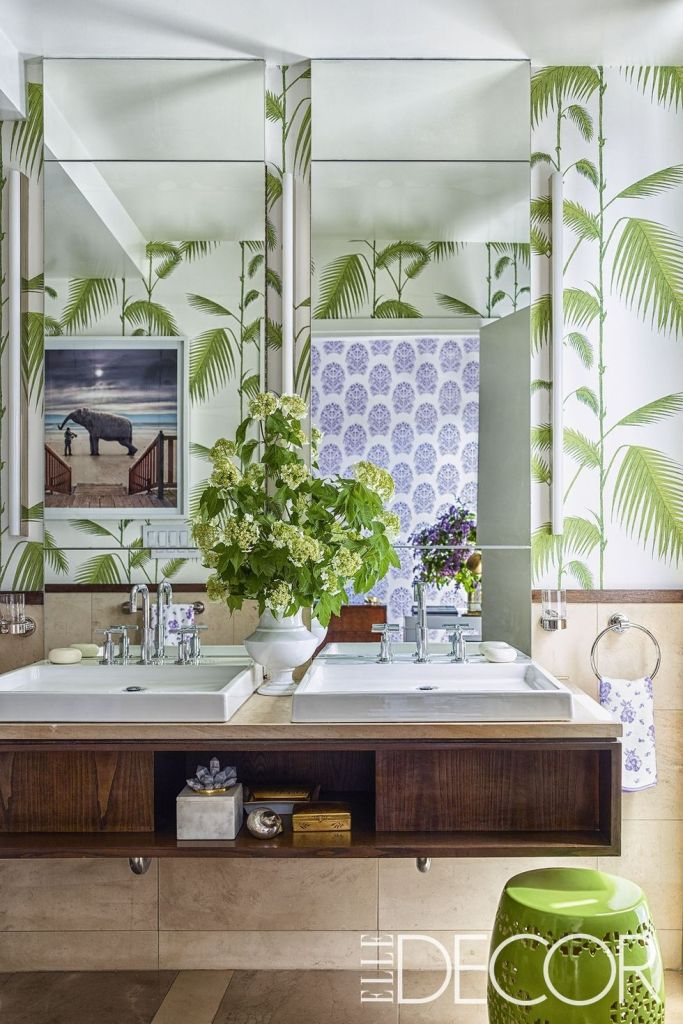 The Walls In Master Bath Are Sheathed A Cole Son Wallpaper Available Through Lee Jofa Stool Is From Pier 1Imports White Vase