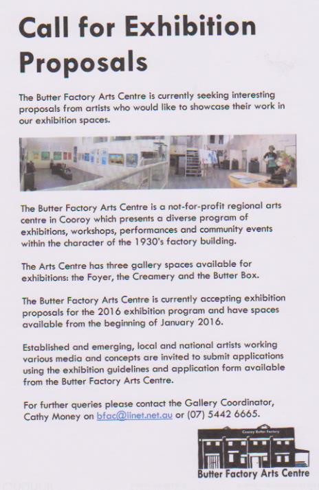 Exhibition Call Out for the Butter Factory Arts Centre - Catherine Money