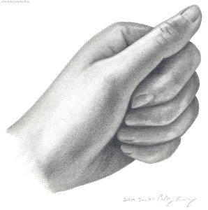 Used my right hand to draw my left hand. Graphite.
