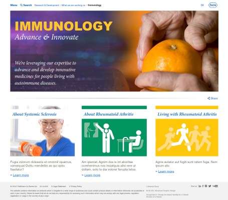 Design for a website for the Roche immunology division. This was a school exercise and was NOT commissioned or approved by Roche. Photoshop and InDesign.