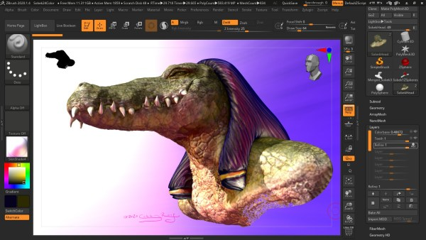 Screenshot of a 3D render of Sobek, crocodile-headed Egyptian god of the Nile