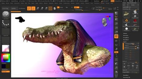 Screenshot of a 3D render of Sobek, crocodile-headed Egyptian god of the Nile