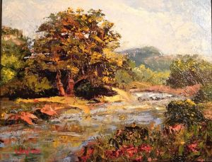 "Original Oil Painting by Catherine Stephens, ""Along Rocky Creek"" Oil on Canvas, 11"" x 14"" Framed. online"