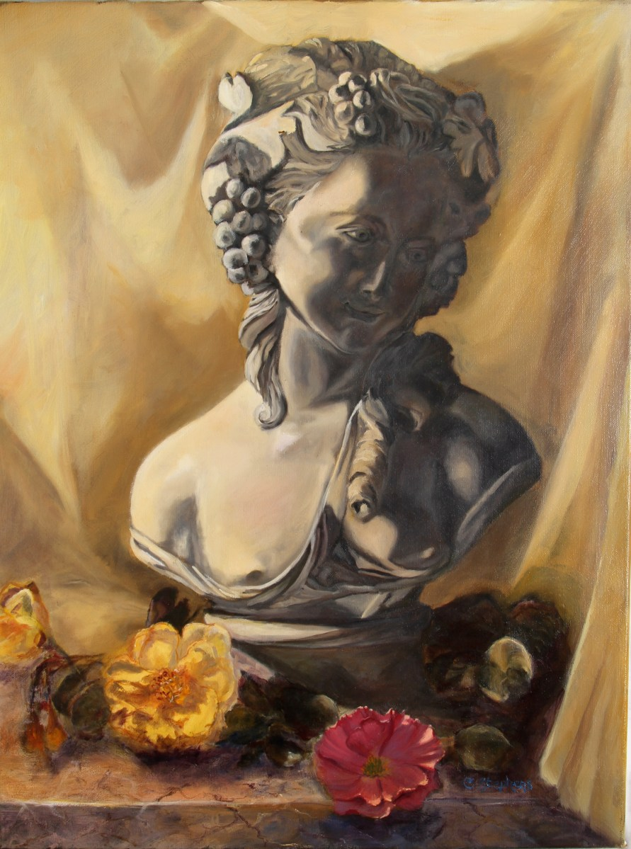 """Original Oil Painting by Catherine Stephens, """"Classic Beauty"""" Oil on Linen, 18"""" x 24."""" Framed. online"""