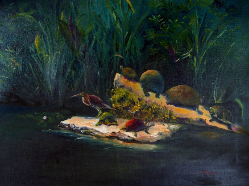 "Original Oil painting, ""Turtle Pond"" by Catherine Stephens, Oil on Linen, 18"" x 24"", Framed."
