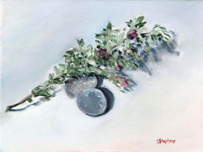 """River Rocks and Sage,"" Oil on Canvas, Framed, $160,Original Oil Painting by Catherine Stephens"