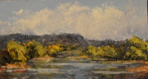 """Silent Reflections,"" Original Oil Painting by Catherine Stephens, Oil on Panel, 5.5"" x 10"", Private Collection"