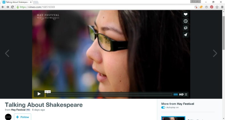 Hay Festival Vimeo channel Catherine Talking about Shakespeare