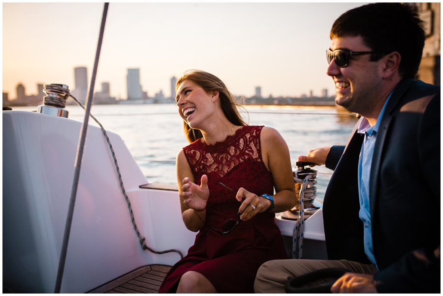Milwaukee Wedding Photographer_Boat Engagement_Lakefront Sunset