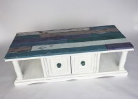 Coastal Coffee Table Makeover with Faux Shiplap - Cathie ...