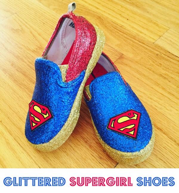 Make Superman Supergirl Glitter Shoes - Cathie