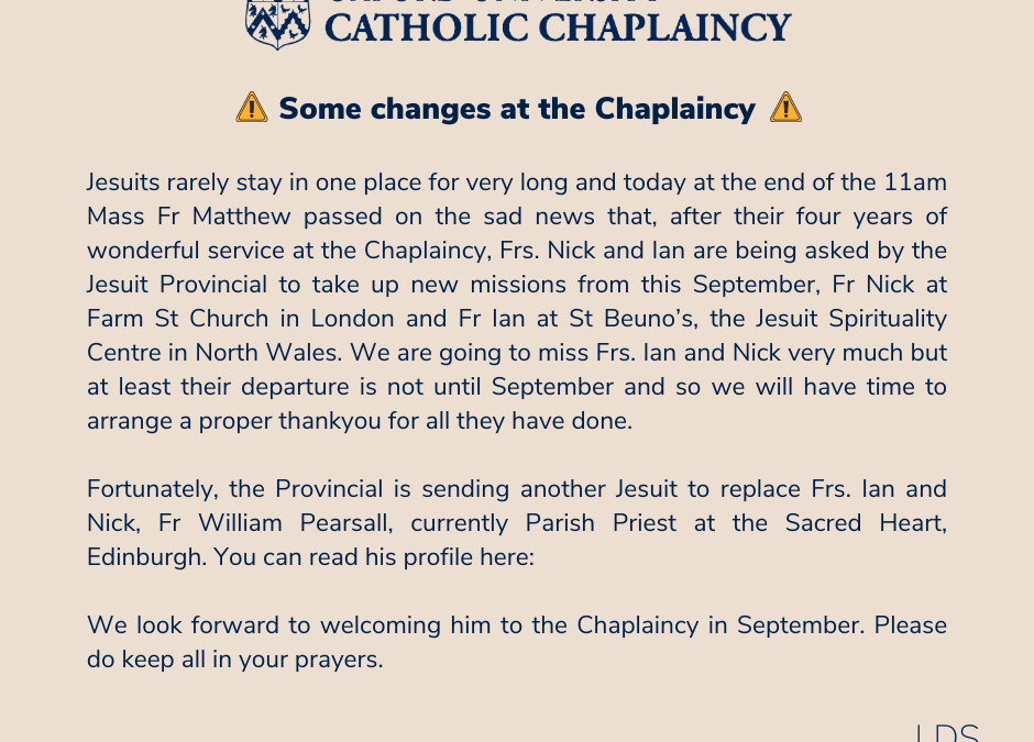 Some Changes at the Chaplaincy