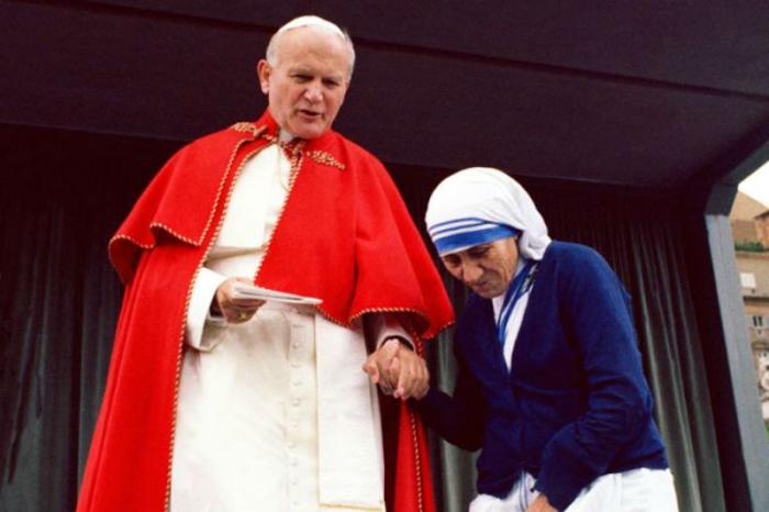 Mother Teresa and John Paul II.