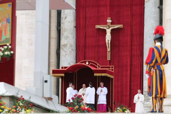 Pope Francis says the Mass of Canonization for the Martins, Father Grossi, and Sister Maria in St. Peter